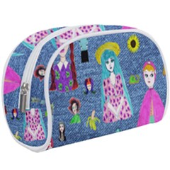 Blue Denim And Drawings Makeup Case (Large)