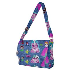 Blue Denim And Drawings Full Print Messenger Bag (M)
