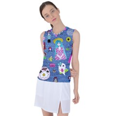 Blue Denim And Drawings Women s Sleeveless Sports Top