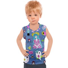 Blue Denim And Drawings Kids  Sport Tank Top