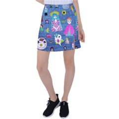 Blue Denim And Drawings Tennis Skirt
