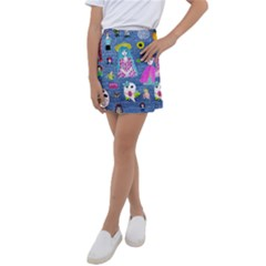 Blue Denim And Drawings Kids  Tennis Skirt