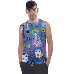Blue Denim And Drawings Men s Regular Tank Top