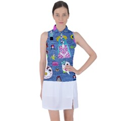 Blue Denim And Drawings Women s Sleeveless Polo Tee