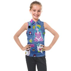 Blue Denim And Drawings Kids  Sleeveless Polo Tee