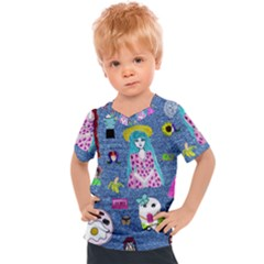 Blue Denim And Drawings Kids  Sports Tee