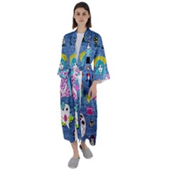 Blue Denim And Drawings Maxi Satin Kimono