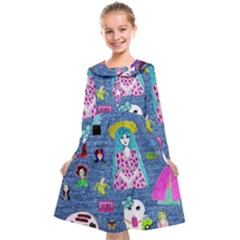 Blue Denim And Drawings Kids  Midi Sailor Dress