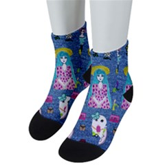 Blue Denim And Drawings Men s Low Cut Socks