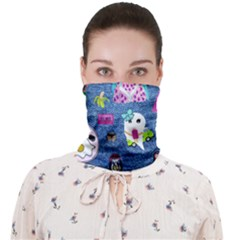 Blue Denim And Drawings Face Covering Bandana (Adult)