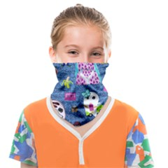 Blue Denim And Drawings Face Covering Bandana (Kids)