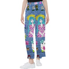 Blue Denim And Drawings Women s Pants