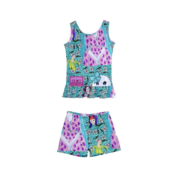 Blue Denim And Drawings Daisies Aqua Kids  Boyleg Swimsuit