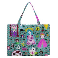 Blue Denim And Drawings Daisies Aqua Zipper Medium Tote Bag