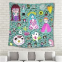 Blue Denim And Drawings Daisies Aqua Square Tapestry (Large) View2