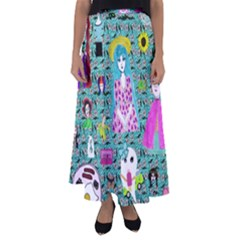 Blue Denim And Drawings Daisies Aqua Flared Maxi Skirt