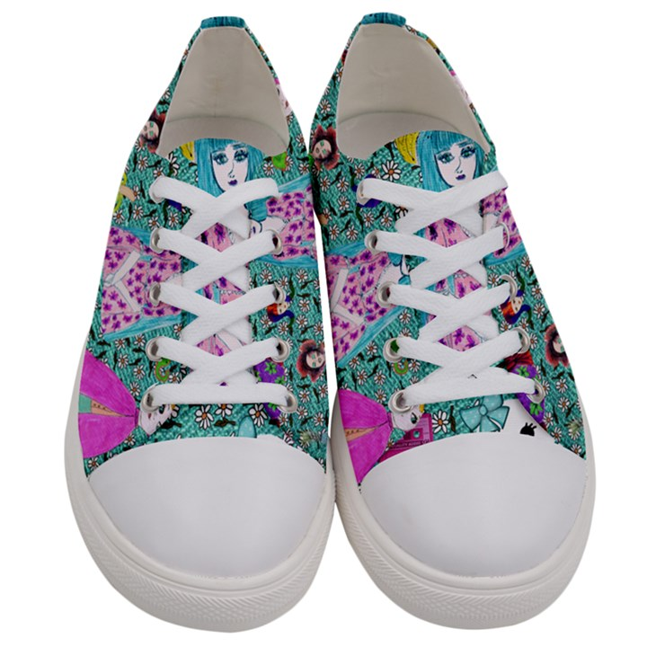 Blue Denim And Drawings Daisies Aqua Women s Low Top Canvas Sneakers