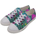 Blue Denim And Drawings Daisies Aqua Women s Low Top Canvas Sneakers View2
