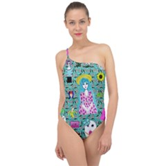 Blue Denim And Drawings Daisies Aqua Classic One Shoulder Swimsuit by snowwhitegirl
