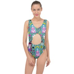 Blue Denim And Drawings Daisies Aqua Center Cut Out Swimsuit