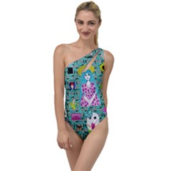 Blue Denim And Drawings Daisies Aqua To One Side Swimsuit by snowwhitegirl