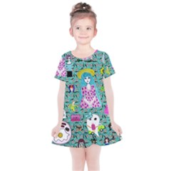Blue Denim And Drawings Daisies Aqua Kids  Simple Cotton Dress