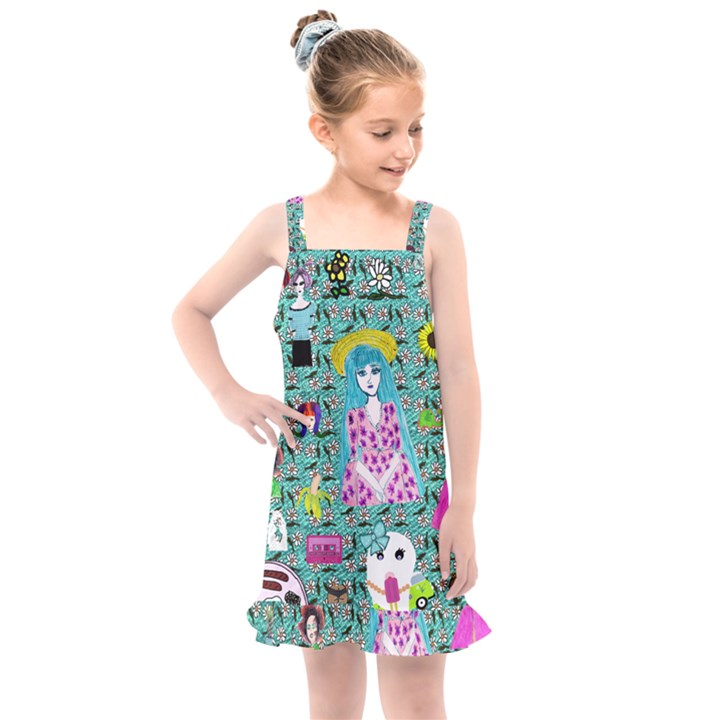 Blue Denim And Drawings Daisies Aqua Kids  Overall Dress