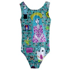 Blue Denim And Drawings Daisies Aqua Kids  Cut-out Back One Piece Swimsuit by snowwhitegirl