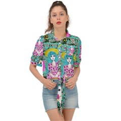 Blue Denim And Drawings Daisies Aqua Tie Front Shirt