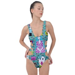 Blue Denim And Drawings Daisies Aqua Side Cut Out Swimsuit by snowwhitegirl