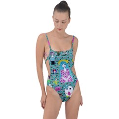 Blue Denim And Drawings Daisies Aqua Tie Strap One Piece Swimsuit by snowwhitegirl
