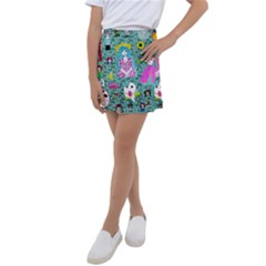 Blue Denim And Drawings Daisies Aqua Kids  Tennis Skirt
