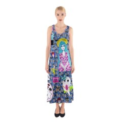 Blue Denim And Drawings Daisies Sleeveless Maxi Dress
