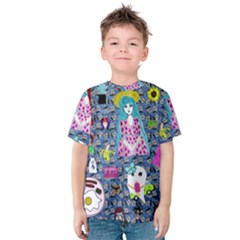 Blue Denim And Drawings Daisies Kids  Cotton Tee