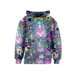Blue Denim And Drawings Daisies Kids  Pullover Hoodie by snowwhitegirl