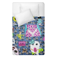 Blue Denim And Drawings Daisies Duvet Cover Double Side (single Size)