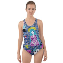 Blue Denim And Drawings Daisies Cut-out Back One Piece Swimsuit