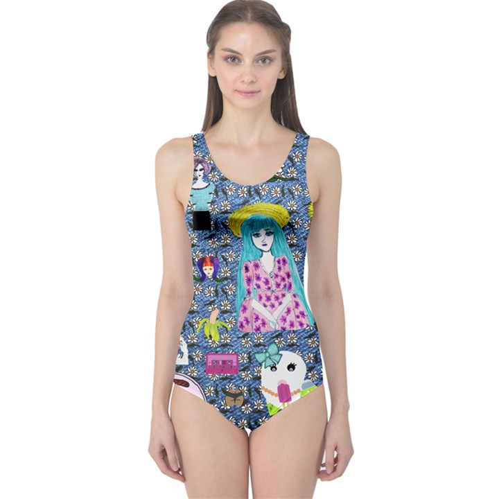 Blue Denim And Drawings Daisies One Piece Swimsuit