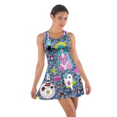 Blue Denim And Drawings Daisies Cotton Racerback Dress