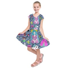 Blue Denim And Drawings Daisies Kids  Short Sleeve Dress