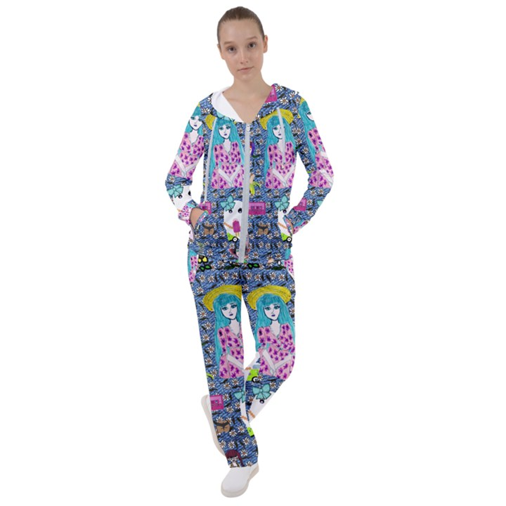 Blue Denim And Drawings Daisies Women s Tracksuit