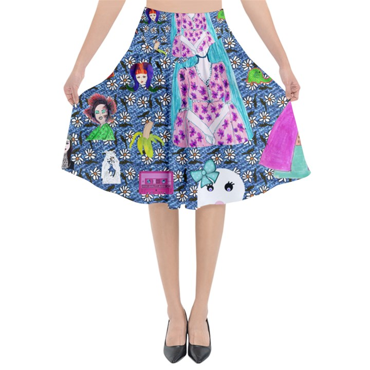 Blue Denim And Drawings Daisies Flared Midi Skirt