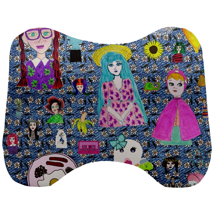 Blue Denim And Drawings Daisies Head Support Cushion