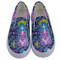 Blue Denim And Drawings Daisies Kids  Canvas Slip Ons