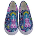 Blue Denim And Drawings Daisies Kids  Canvas Slip Ons View1