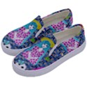 Blue Denim And Drawings Daisies Kids  Canvas Slip Ons View2