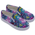 Blue Denim And Drawings Daisies Kids  Canvas Slip Ons View3