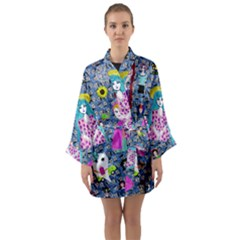 Blue Denim And Drawings Daisies Long Sleeve Satin Kimono