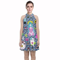 Blue Denim And Drawings Daisies Velvet Halter Neckline Dress