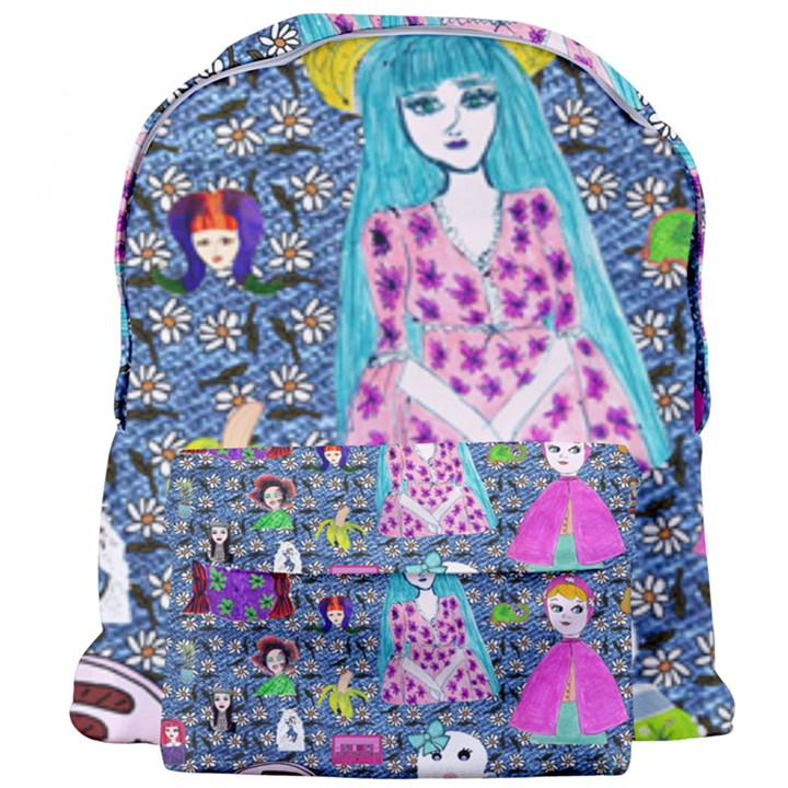 Blue Denim And Drawings Daisies Giant Full Print Backpack